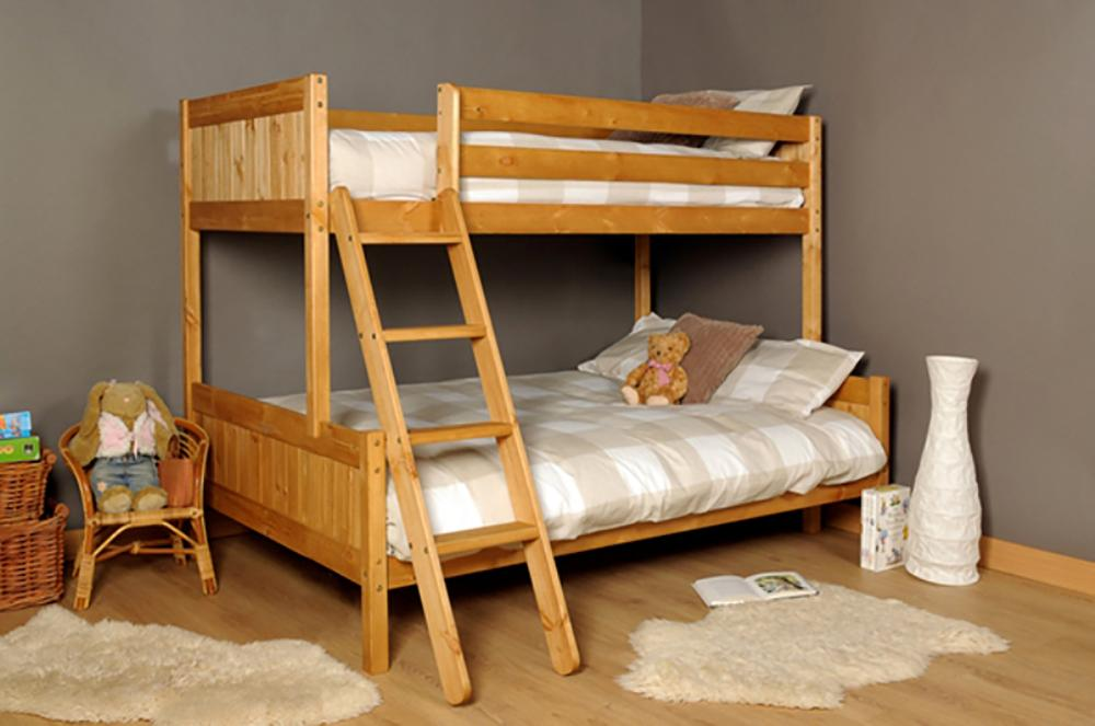 3ft 4ft Triple Wooden Bunk Bed Kids Pine White Or Grey