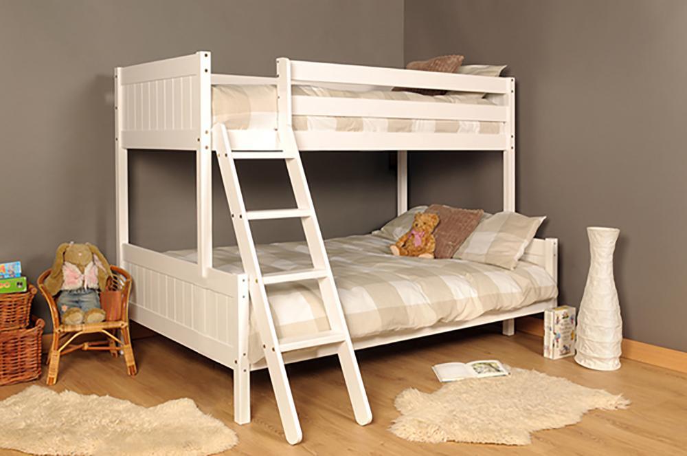 3ft 4ft Triple Wooden Bunk Bed Kids Pine White Or Grey Mattress Option Ebay