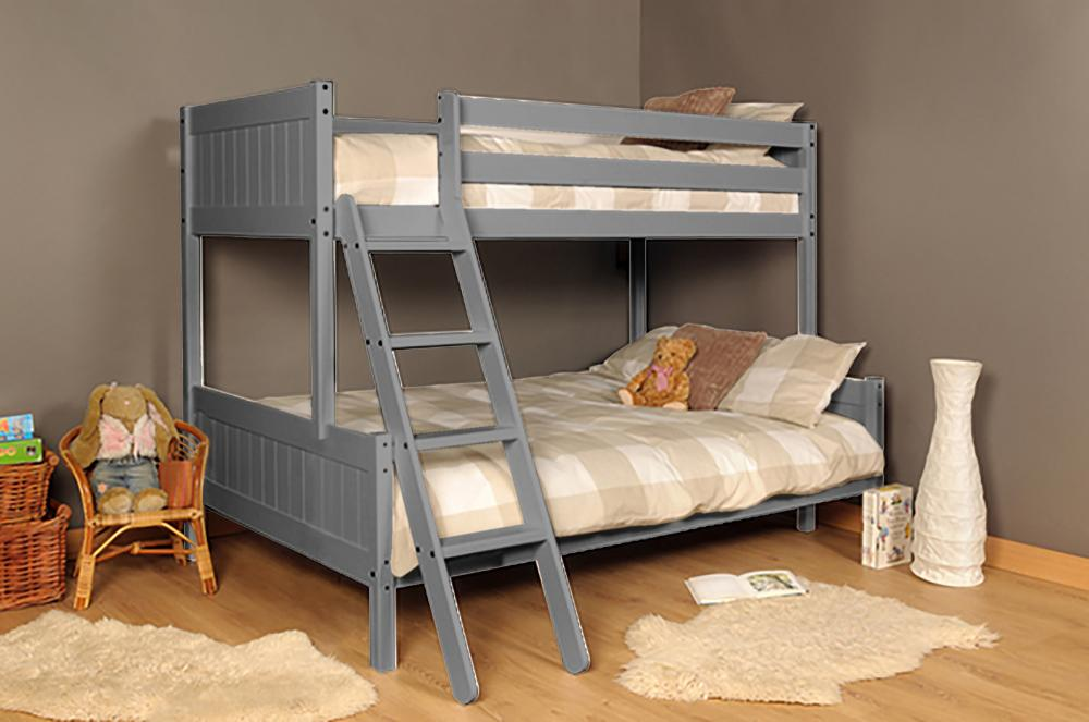 3ft 4ft Triple Wooden Bunk Bed Kids In Grey With Mattress Option Ebay