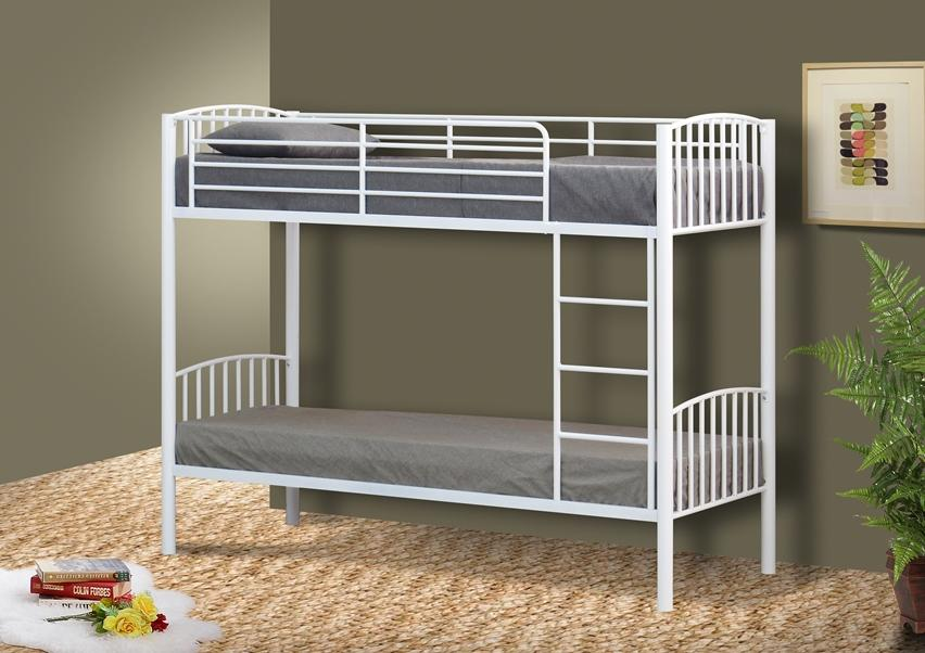 Metal small single bunk bed in 2ft6 bunk metal frame white for Single bunk bed