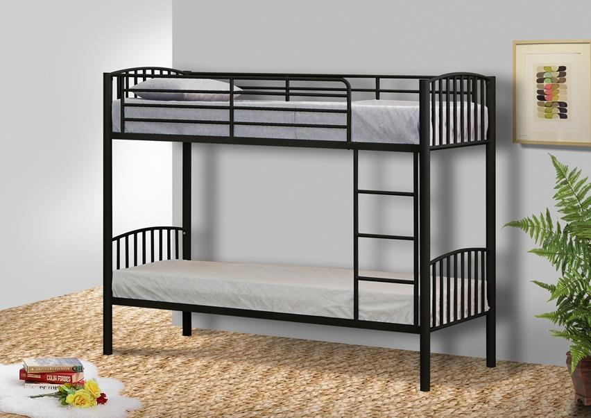 Metal Small Single Bunk Bed In 2ft6 Frame White Black Silver
