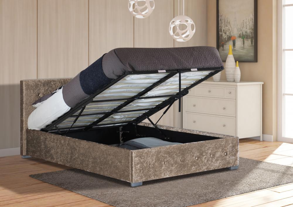 Crushed Velvet Ottoman Storage Bed Frame 3ft Single 4ft6