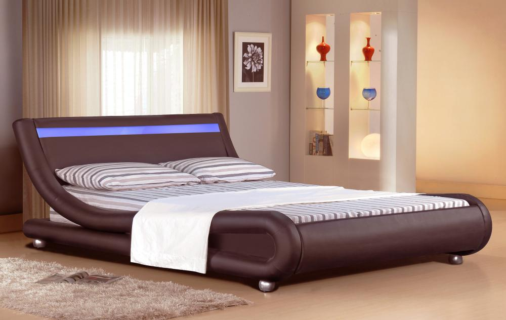 Italian Designer Faux Leather Bed With Led Strip 4ft6 5ft