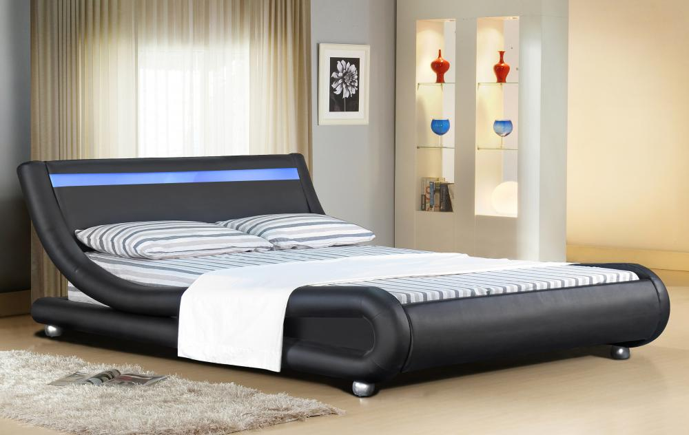 Italian designer faux leather bed with led strip 4ft6 5ft with mattress option ebay - Look contemporary luxury bedding ...