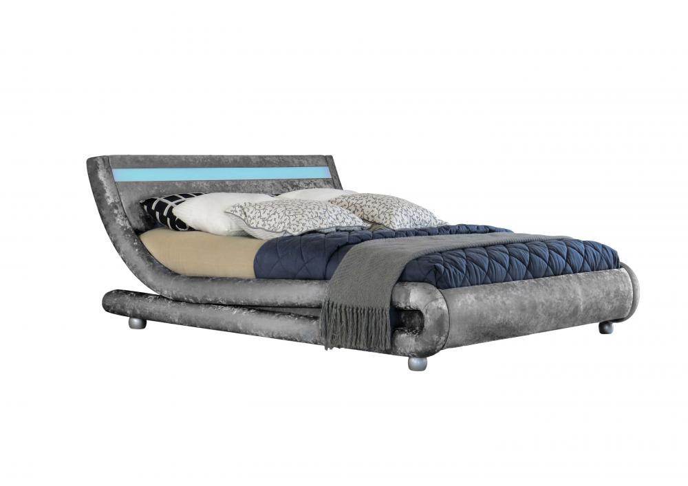 Modern Designer Curved Crushed Velvet Bed Frame With LED Strip ...