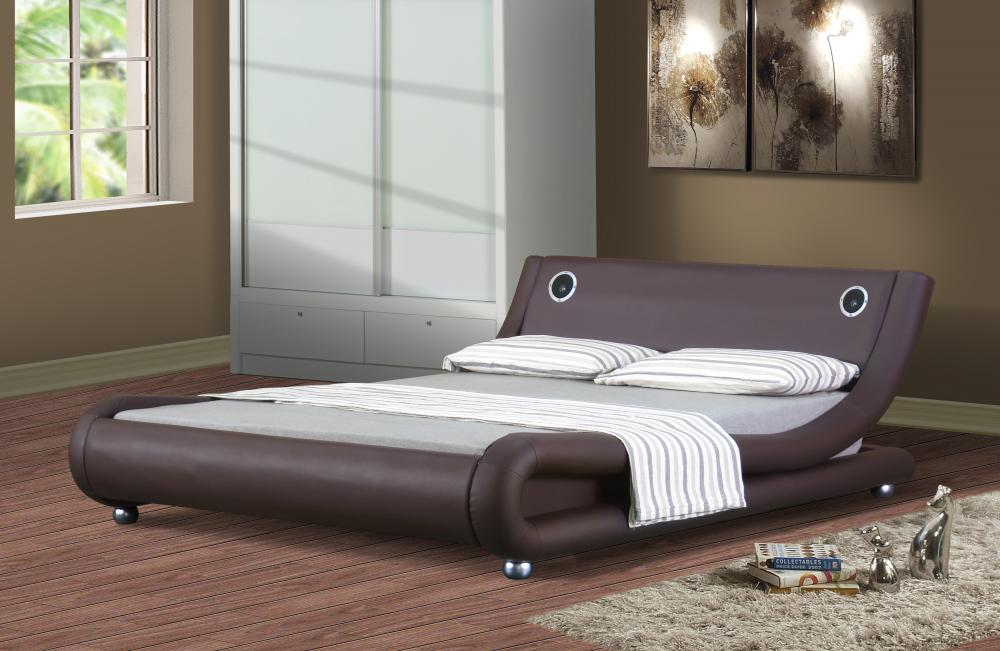 Italian Designer Faux Leather Bed with Bluetooth Speakers ...
