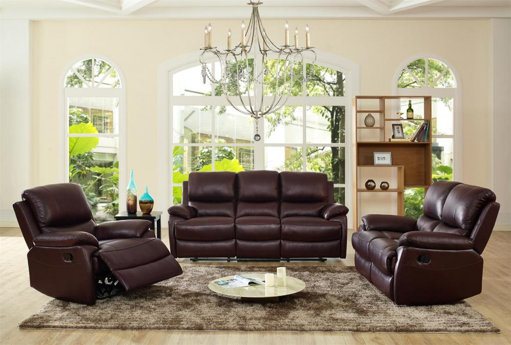 Palermo Reclining Leather Sofa Set In Brown Or Black 3