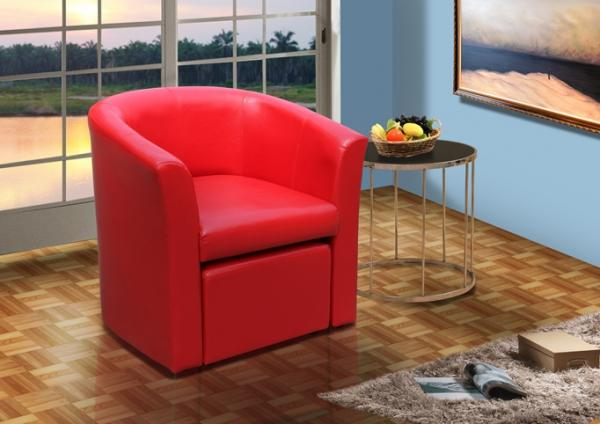 Stylish Faux Leather Tub Chair With Matching Footstool Home Office  Conservatory. | EBay