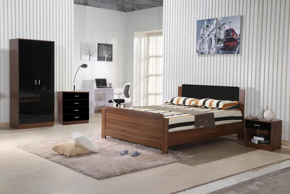 Walnut Black Gloss Bedroom Furniture 3 Piece Trio Set Wardrobe Chest Bedside Ebay