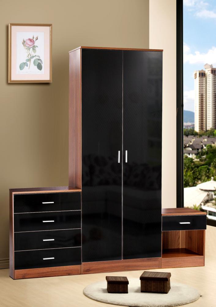 Details about Walnut Black Gloss Bedroom Furniture 4 Piece Set Wardrobe,  Chest & 2 Bedsides