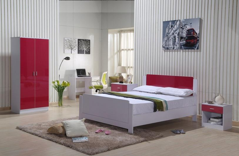 Details About White 3 Piece Storage Drawers Twin Bed Box: High Gloss Bedroom Furniture Set Red White Wardrobe Chest