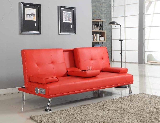 bluetooth cinema sofa bed with drink cup holder table faux leather 4 colours ebay. Black Bedroom Furniture Sets. Home Design Ideas