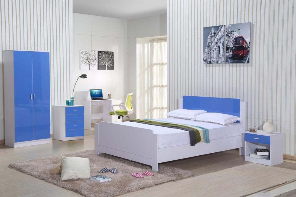 High Gloss Bedroom Furniture Set Blue White Wardrobe Chest Drawers Custom White Chest Of Drawers Bedroom Set Interior