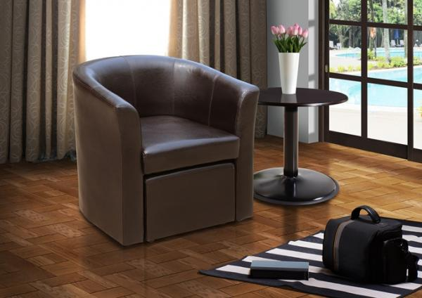 Stylish Faux Leather Tub Chair With Matching Footstool Home Office  Conservatory.