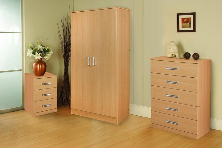 Stylish oak trio set wardrobe chest of drawers and bedside Short wardrobe with drawers