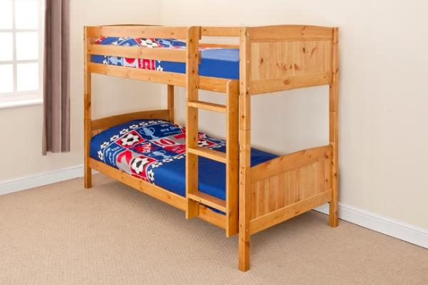 Superior Wooden Bunk Bed Kids Childrens Single PINE,WHITE Or GREY 3ft Christopher