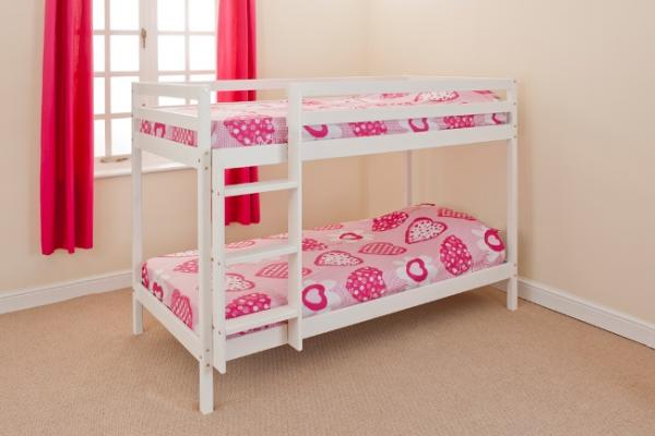 wooden bunk bed kids childrens 2ft6 white or pine small. Black Bedroom Furniture Sets. Home Design Ideas