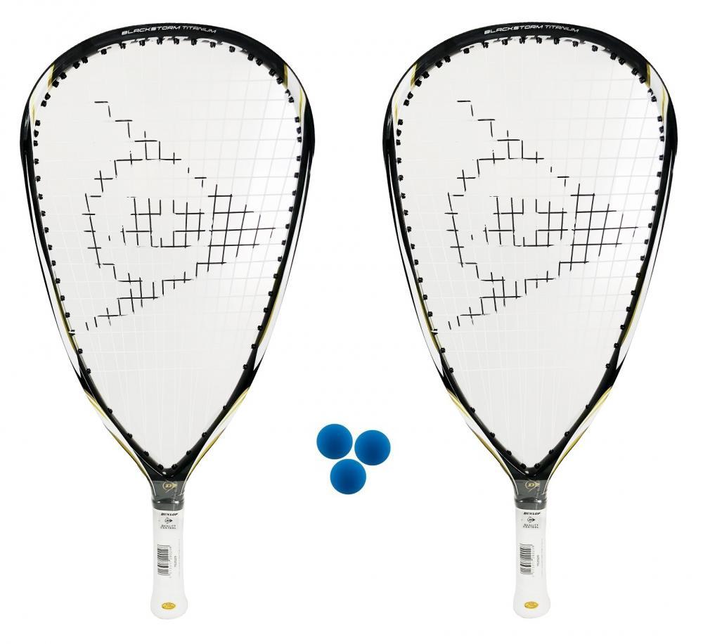 3 pelotas /£335 2 x Dunlop Blackstorm Titanium raquetbol raquetas