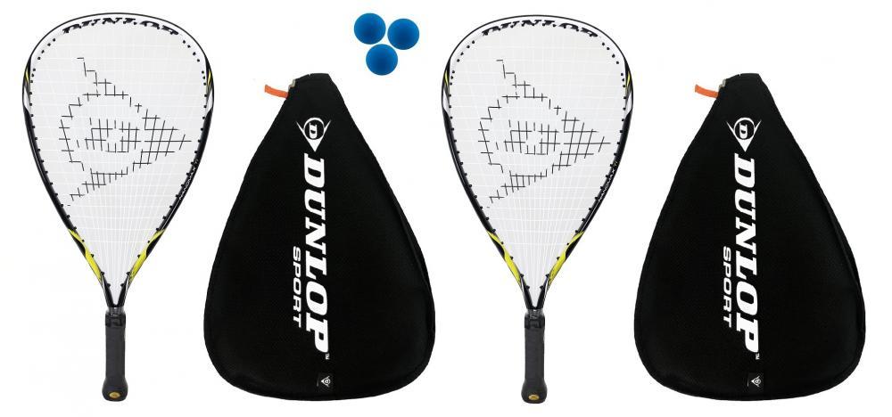 2 x Dunlop Blackstorm Titanium Racketball Rackets 3 Balls RRP £335