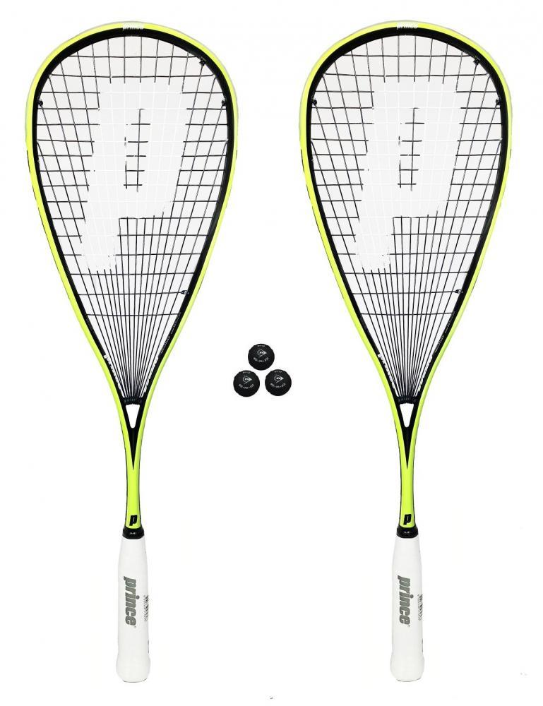 3 Squash Balls RRP £330 2 x Prince Pro Beast 650 Squash Rackets Covers