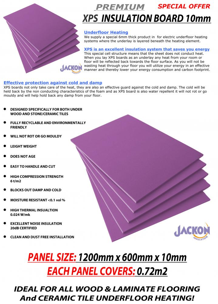 Electric Underfloor Heating Insulation Boards 10mm For