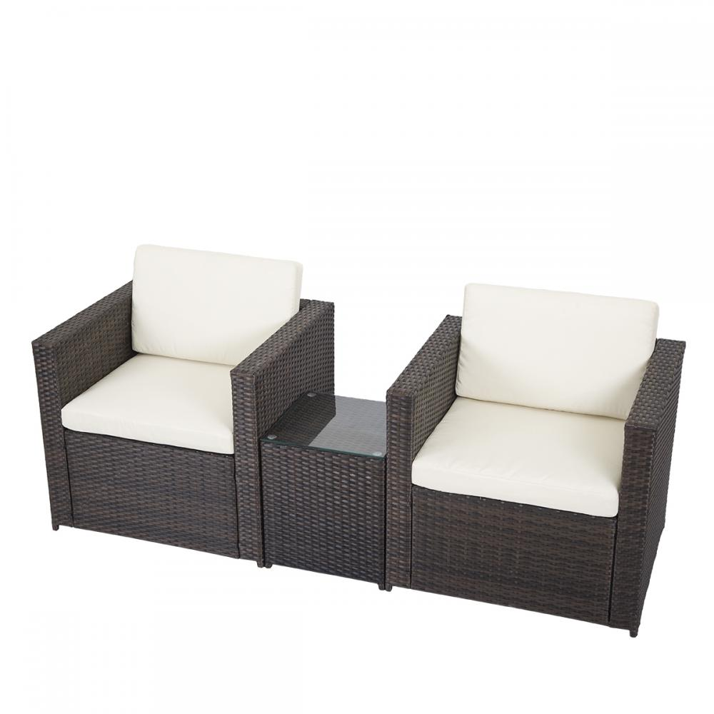 3 pcs outdoor patio sofa set sectional furniture pe wicker for Garden patio furniture sets