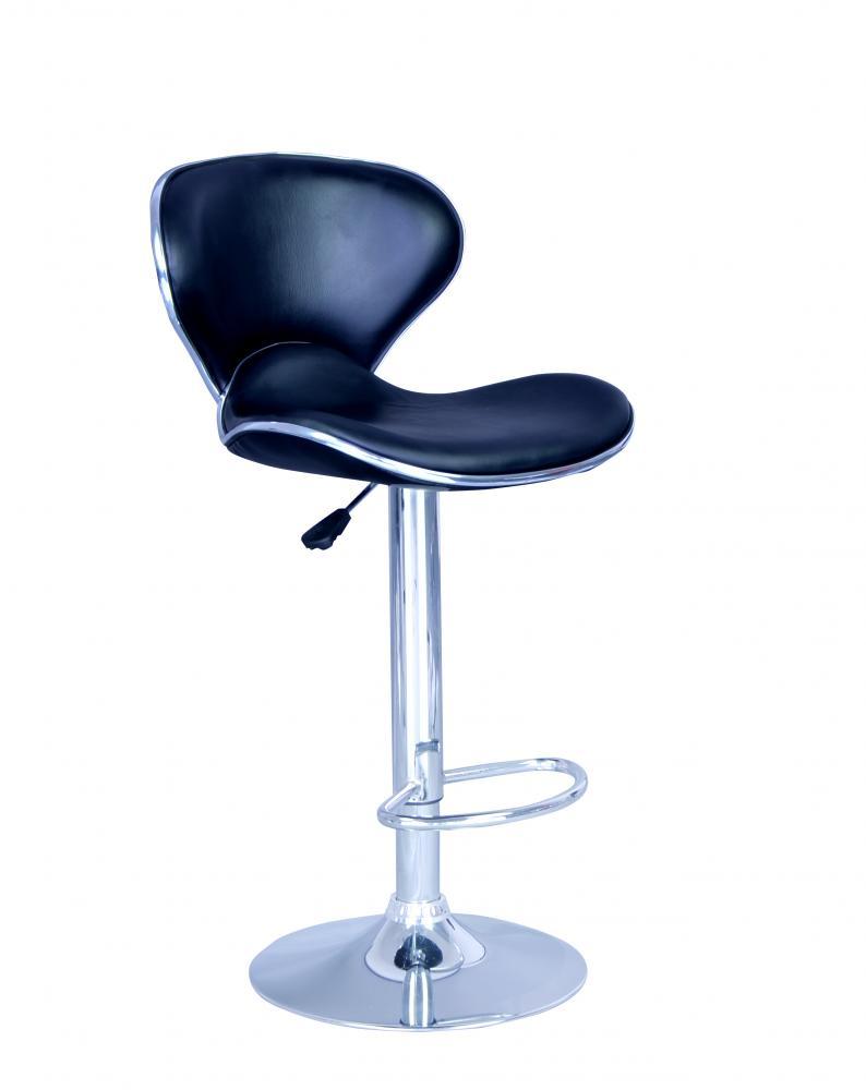 set of 2 bar stools black pu leather modern duluth