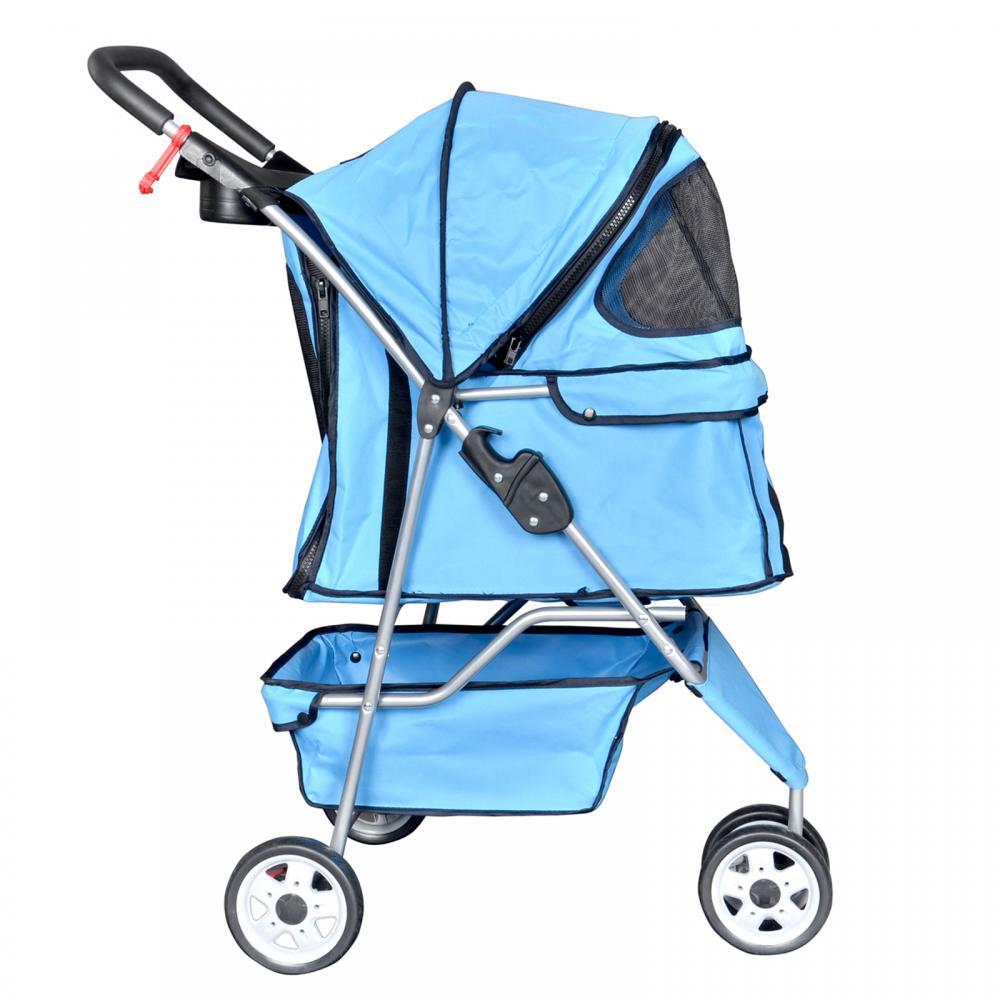 New Blue Pet Stroller Cat Dog Cage 3 Wheels Stroller