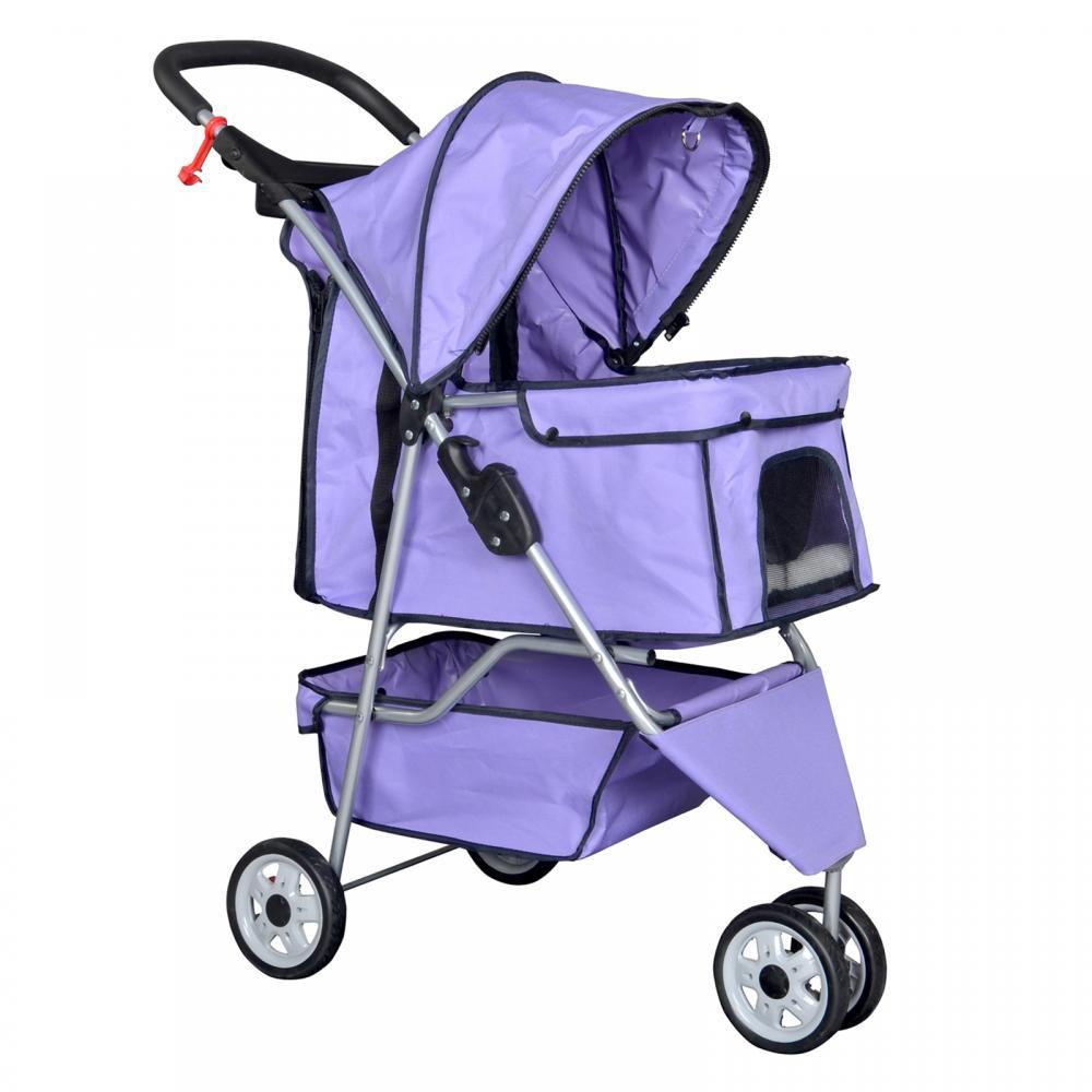Purple Pet Stroller Cat Dog Cage 3 Wheels Stroller Travel