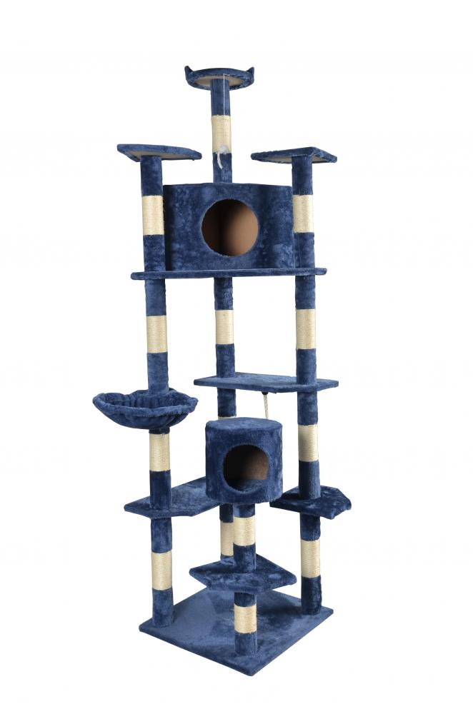 "80"" Navy Blue Cat Tree Condo Furniture Scratching Post Pet"