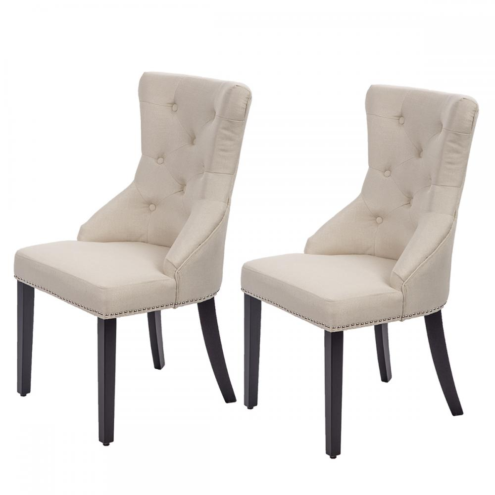 Latest Dining Chairs: New Set Of 2 Beige Elegant Fabric Upholstered Dining Side
