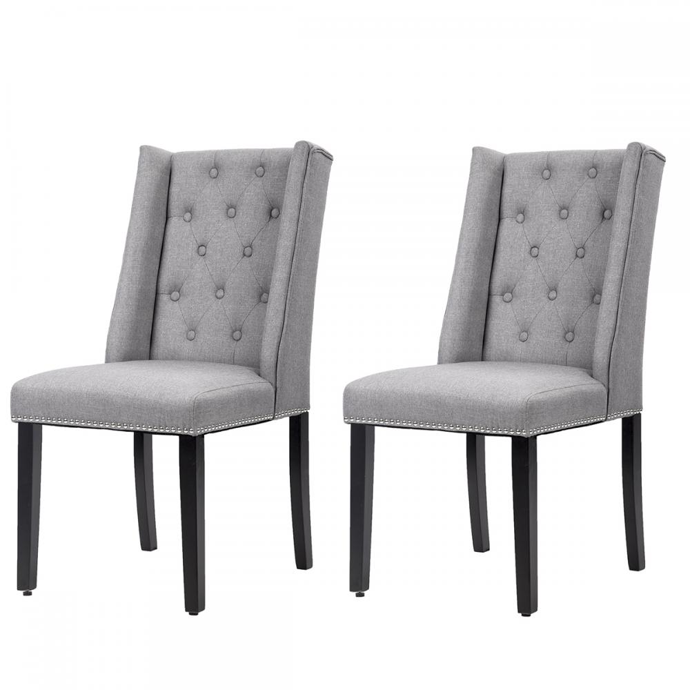 Set Of 2 Grey Elegant Dining Side Chairs Button Tufted
