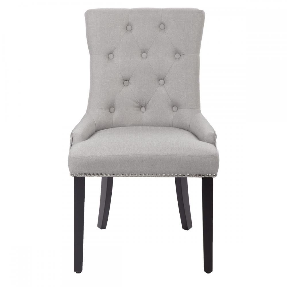 Latest Dining Chairs: New Set Of 2 Grey Elegant Fabric Upholstered Dining Side