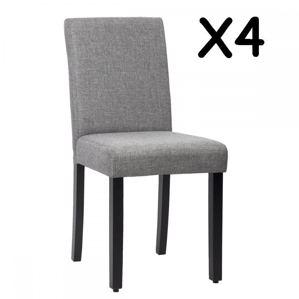 New set of 4 grey elegant design modern fabric upholstered for Elegant upholstered dining chairs