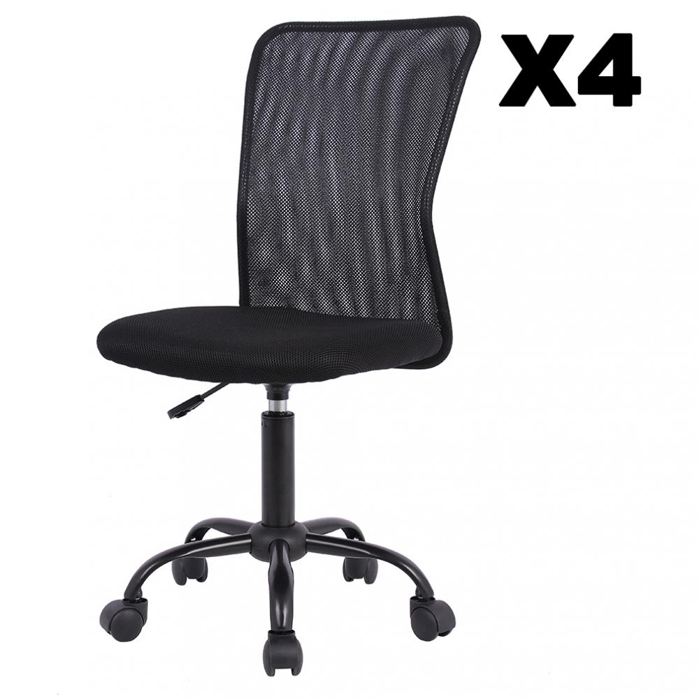 1/2/3/4 Pcs Mid Back Mesh Office Chair Computer Task Swivel Seats,  Black/Pink