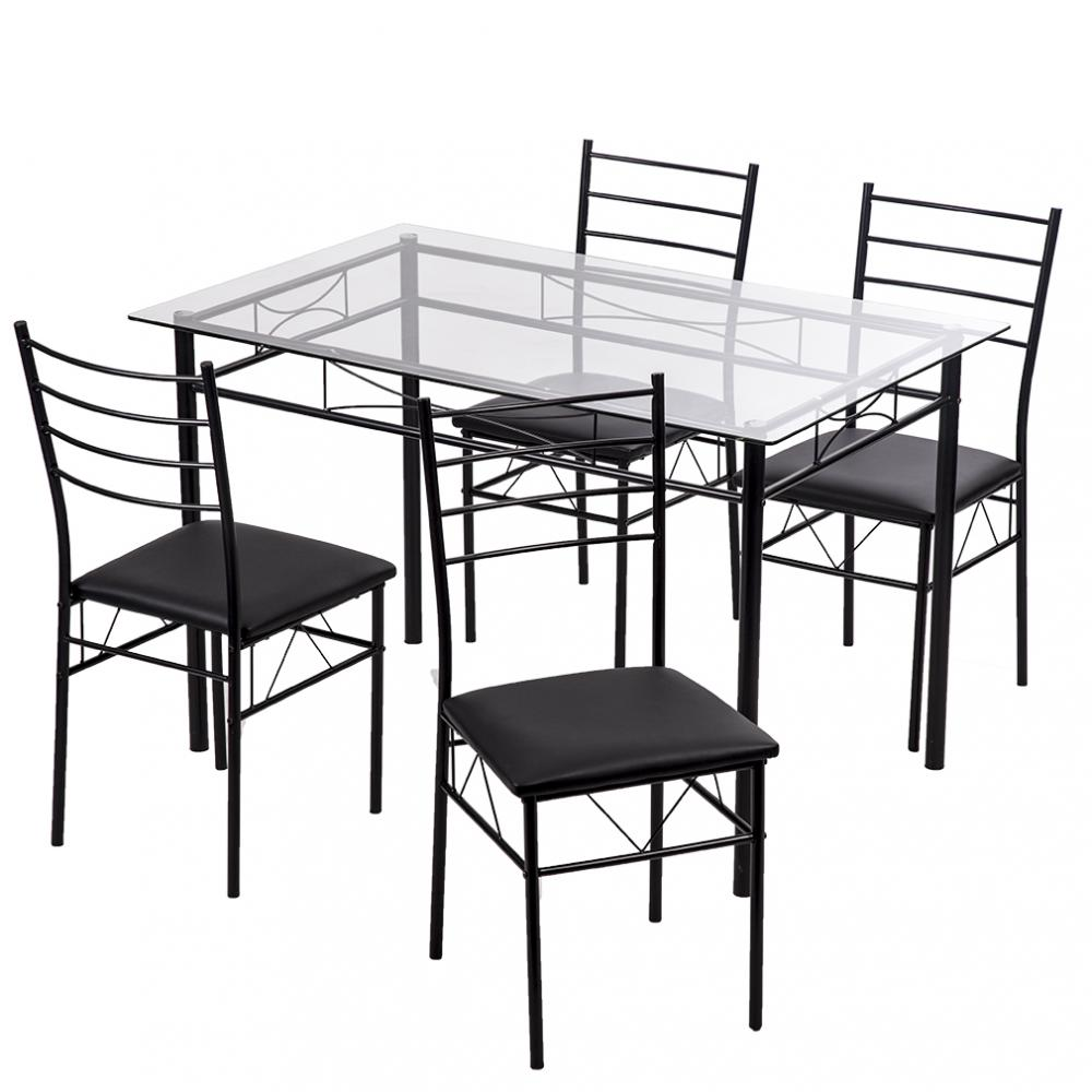 Table In Kitchen: 5 Pcs Dining Table Set W/4 Chairs Glass Metal Kitchen