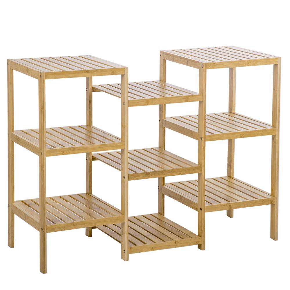 Bamboo Storage Shelf Rack Plant Display Stand 9 Tier Rack