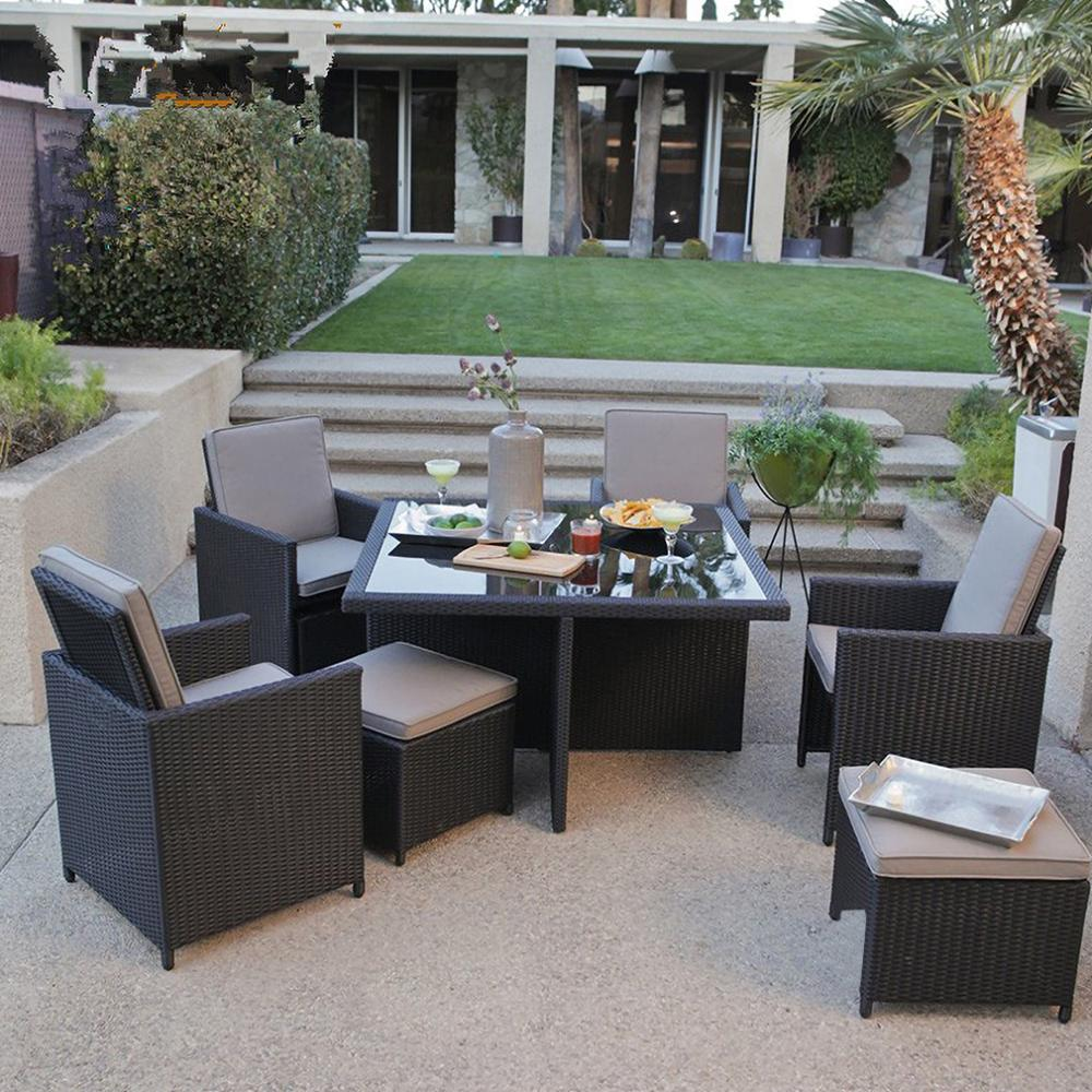 Patio Furniture Set 9pcs Patio Outdoor Dining Sets Pe Rattan Wicker