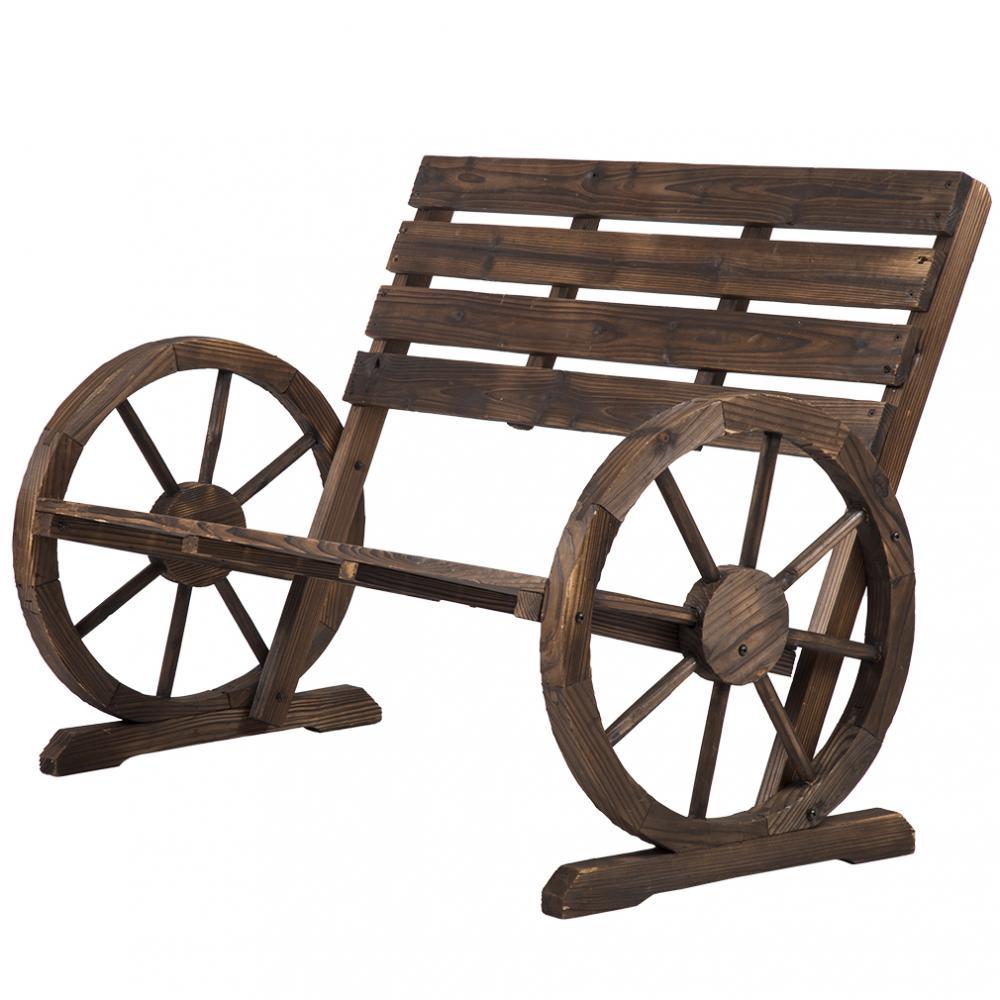 New Wooden Wagon Wheel Bench Garden Loveseat Rustic