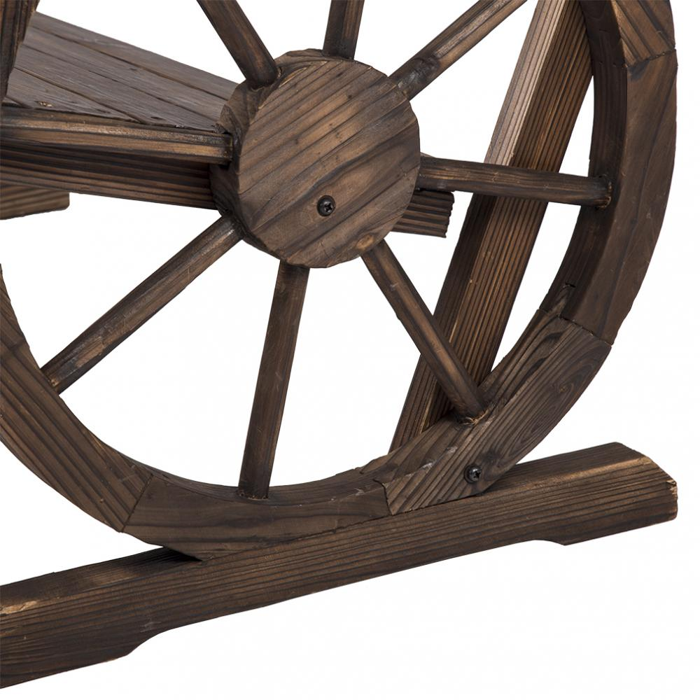 New Wooden Wagon Wheel Bench Garden Loveseat Rustic