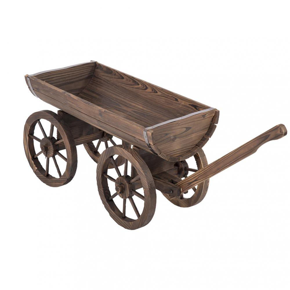 Details About New Wooden Wagon Flower Planter 2 Tier Rolling Wheels Patio Deck Decor Display