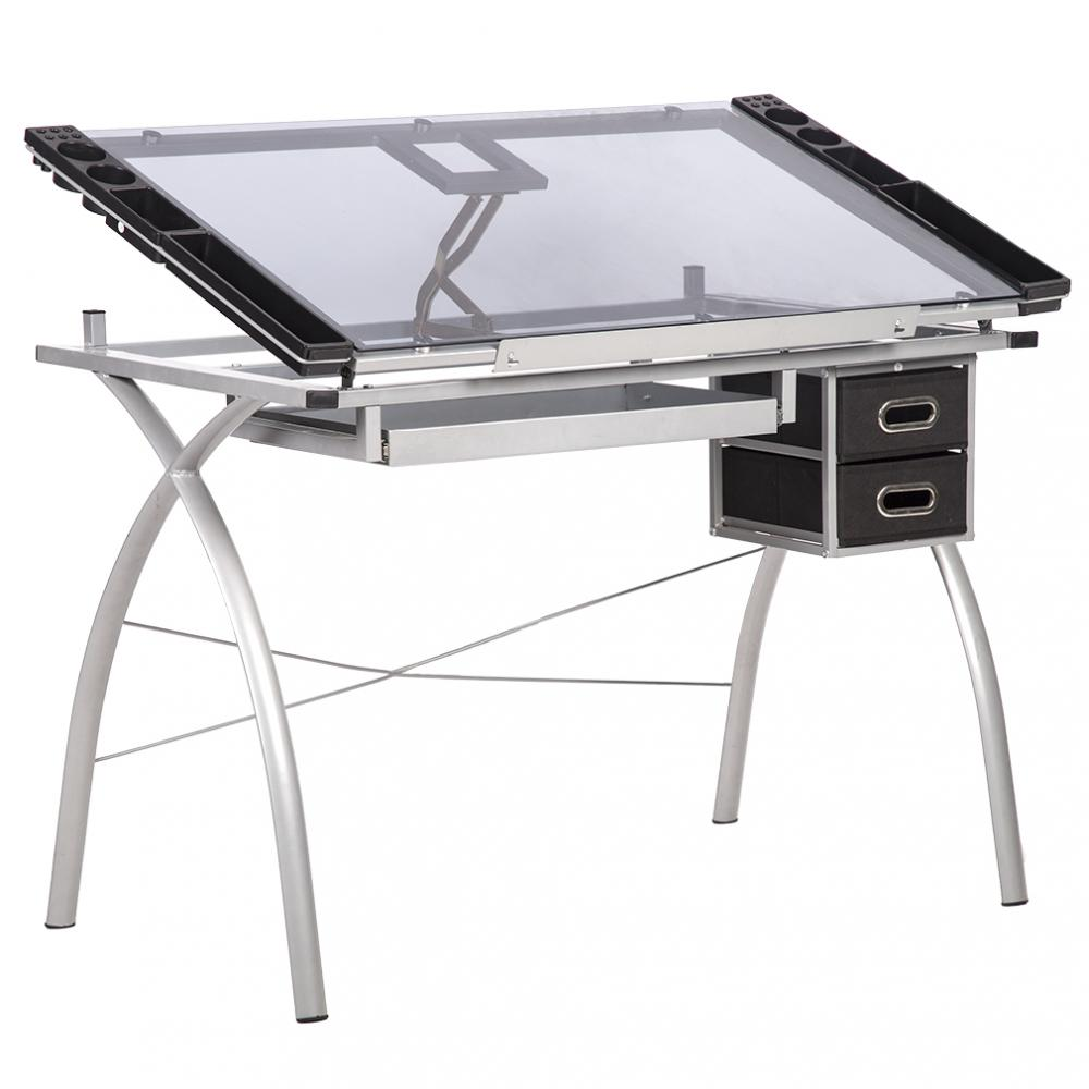 Drawing Desk Station Tempered Glass Adjule Drafting Table W