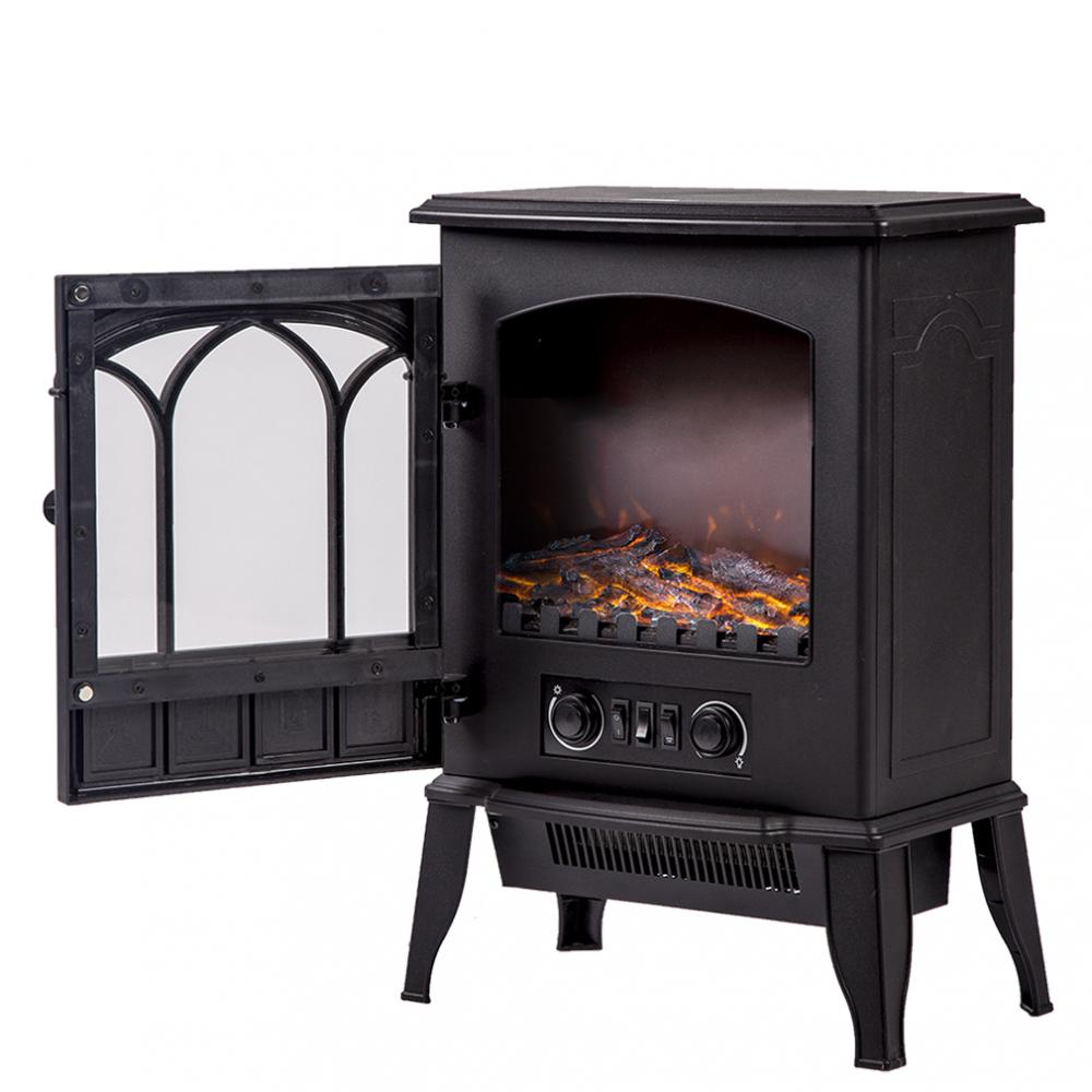 750W/1500W Standing Electric Fireplace Heat Log Flame Stove Portable FP22