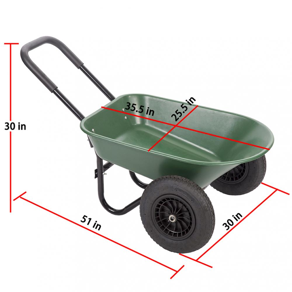 New Flat Free Yard Garden Rover Wheelbarrow 2 Tire