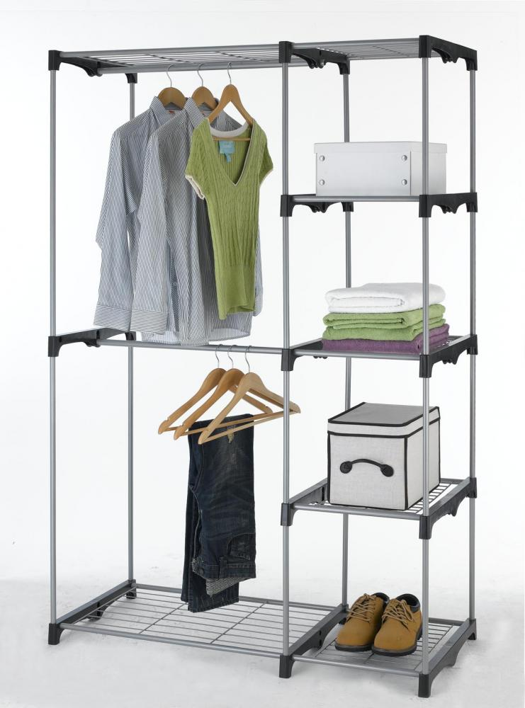 Gentil Closet Organizer Storage Rack Portable Clothes Hanger Home Garment Shelf  Rod G68