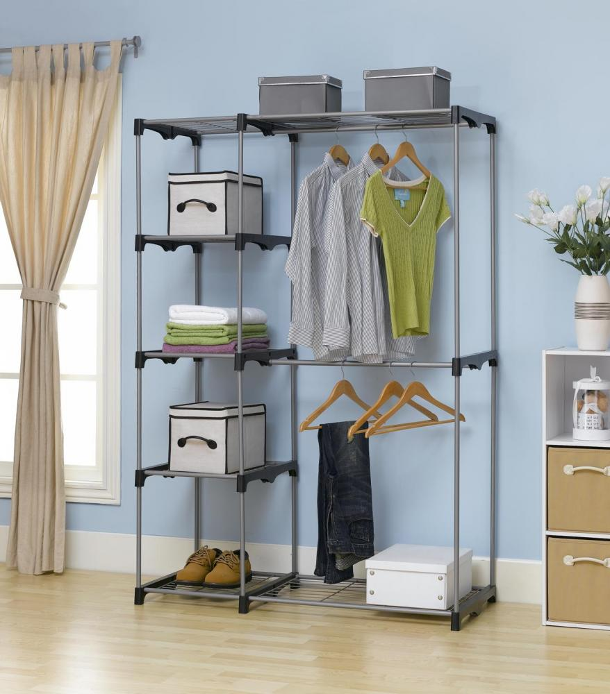 Closet organizer storage rack portable clothes hanger home No closet hanging solutions
