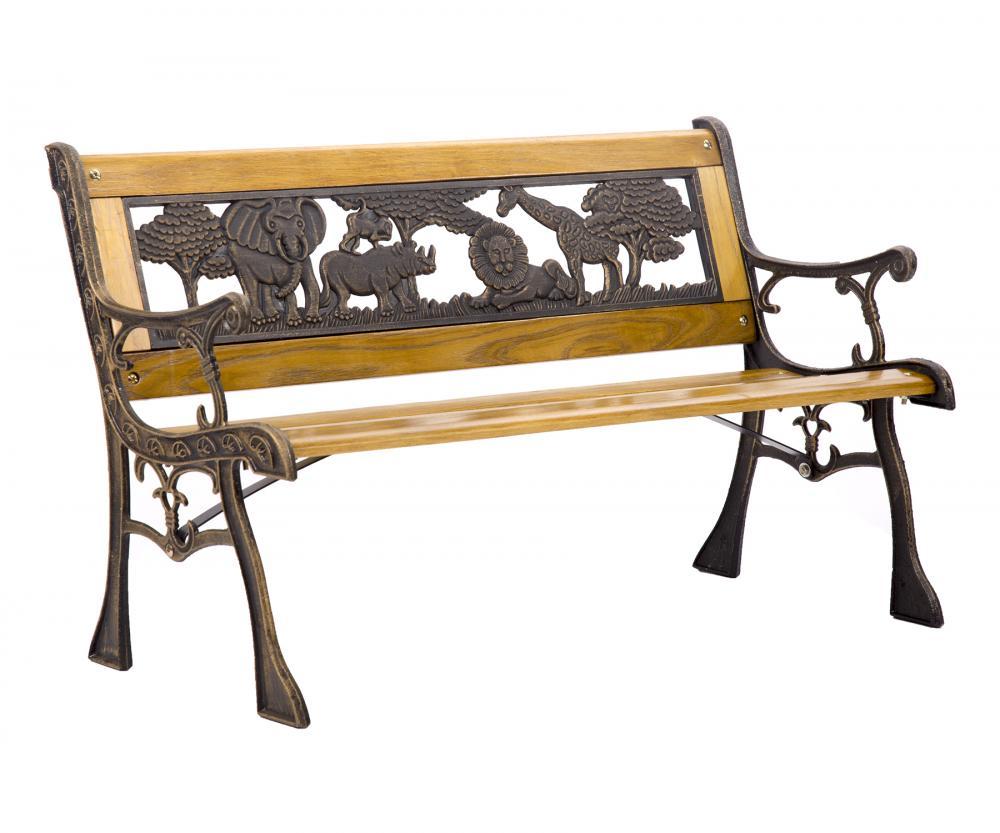 Patio Garden Bench Park Porch Chair Cast Iron Hardwood