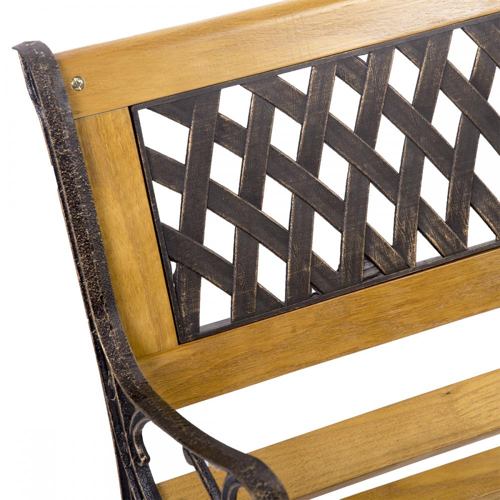 Garden Bench Patio Porch Chair Deck Hardwood Cast Iron