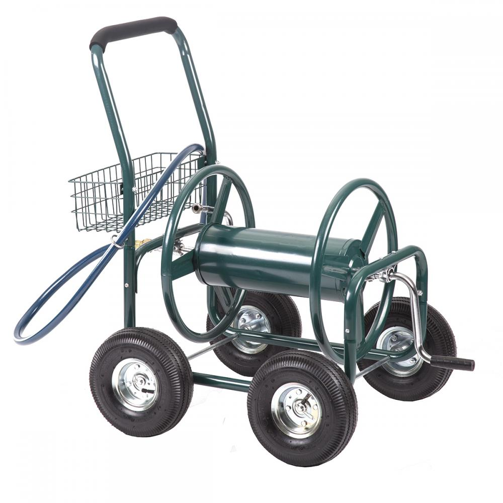 garden water hose reel cart outdoor heavy duty yard planting wbasket c50