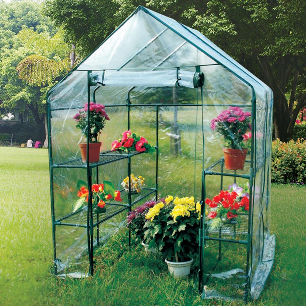 Portable Mini Greenhouse Outdoor Plant Shelves Walk-in ...
